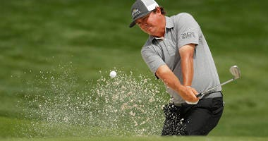 Jason Dufner hits from a sand trap on the 16th hole during the second round of the Wells Fargo Championship golf tournament at Quail Hollow Club in Charlotte, N.C., Friday, May 3, 2019.