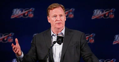 NFL Commissioner Roger Goodell speaks to the media during the NFL football owners meeting on Wednesday, May 22, 2019, in Key Biscayne, Fla.