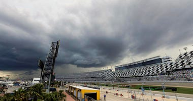 Storm clouds move over Daytona International Speedway causing a delay of events before a NASCAR Xfinity auto race, Friday, July 5, 2019, in Daytona Beach, Fla. (
