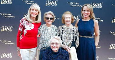 """Norma Hunt, Martha Ford, Virginia McCaskey, seated, Patricia Rooney and Jane Skinner Goodell pose at the premiere of """"A Lifetime of Sundays,"""""""