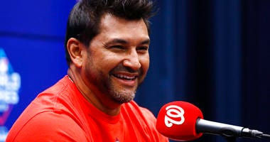 Washington Nationals manager Dave Martinez smiles during a news conference Thursday, Oct. 24, 2019, in Washington. The Nationals and the Houston Astros are scheduled to play Game 3 of baseball's World Series on Friday.