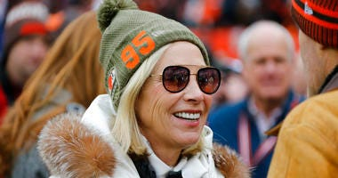 Cleveland Browns co-owner Dee Haslam is shown before an NFL football game between the Miami Dolphins and the Cleveland Browns, Sunday, Nov. 24, 2019, in Cleveland.
