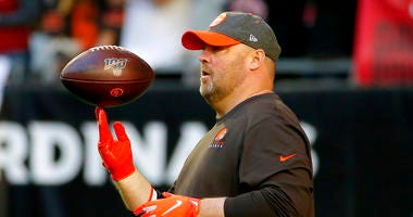 Cleveland Browns head coach Freddie Kitchens watches his team prior to an NFL football game against the Arizona Cardinals, Sunday, Dec. 15, 2019, in Glendale, Ariz.