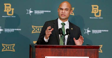 Baylor's new head football coach Dave Aranda addresses the media during an NCAA college football news conference, Monday, Jan. 20, 2020, in Waco, Texas.