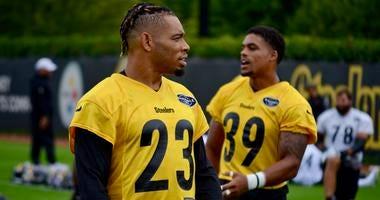 Steelers CB Joe Haden at practice in 2019