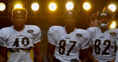 Steelers Christian Scotland-Williamson, Pharaoh McKeever and Bucky Hodges at Heinz Field