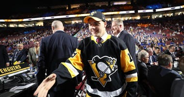 Nathan Legare reacts after being selected 74th overall by the Pittsburgh Penguins during the 2019 NHL Draft at Rogers Arena on June 22, 2019 in Vancouver, Canada.