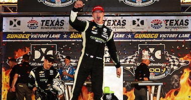 Team Penske's Josef Newgarden Celebrates In Victory Lane At Texas Motor Speedway