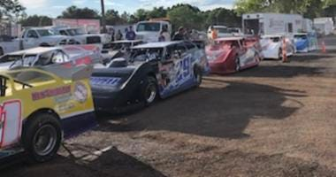 Late Model Race Cars Line Up At Lernerville Speedway
