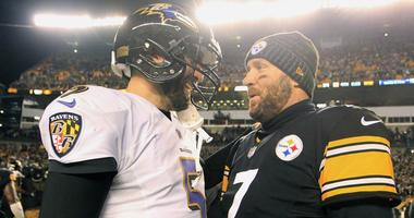 Baltimore Ravens quarterback Joe Flacco and Pittsburgh Steelers quarterback Ben Roethlisberger