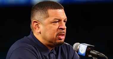 Pittsburgh Panthers head coach Jeff Capel speaks to the media during the 2018 ACC Operation Basketball held at Spectrum Center.