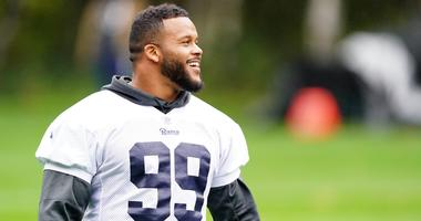 Los Angeles Rams defensive tackle Aaron Donald (99) during practice at at The Grove.