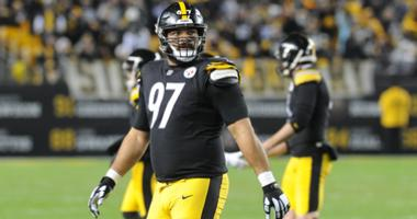Pittsburgh Steelers defensive tackle Cameron Heyward (97) looks up at the scoreboard against the Cincinnati Bengals at Heinz Field.