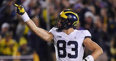 Michigan Wolverines tight end Zach Gentry (83) reacts after getting a first down against the Northwestern Wildcats at Ryan Field.