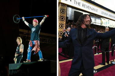 Axl Rose of Guns N' Roses and Dave Grohl of Foo Fighters