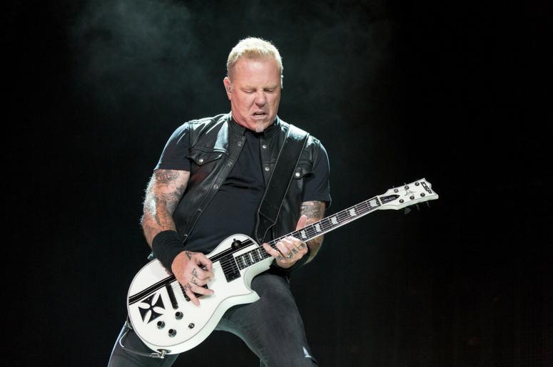 James Hetfield of Metallica performing live on stage at Genting Arena in Birmingham, UK