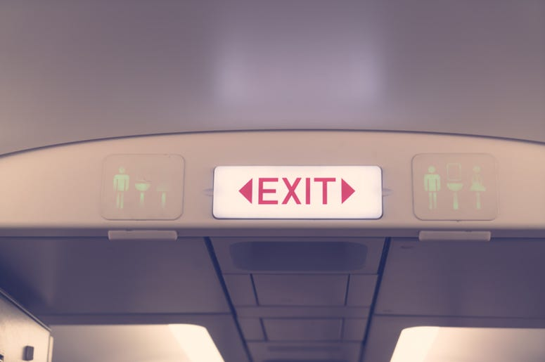 emergency exit on a plane