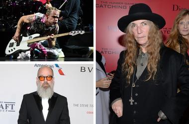 Musicians Patti Smith, Michael Stipe of R.E.M., and Flea of Red Hot Chili Peppers