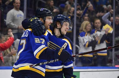 St. Louis Blues defenseman Alex Pietrangelo (27) is congratulated by right wing Vladimir Tarasenko (91) after scoring his second goal of the game during the third period against the New Jersey Devils at Enterprise Center.