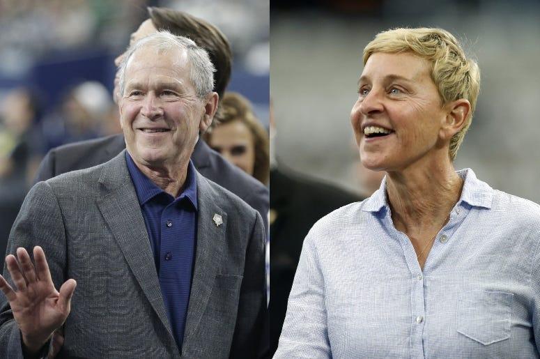 George W. Bush and Ellen DeGeneres