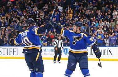 St. Louis Blues goal celebration.