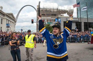 Vladimir Tarasenko hoists the Stanley Cup in St. Louis.