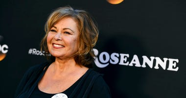 "FILE - In this March 23, 2018, file photo, Roseanne Barr arrives at the Los Angeles premiere of ""Roseanne"" on Friday in Burbank, Calif."