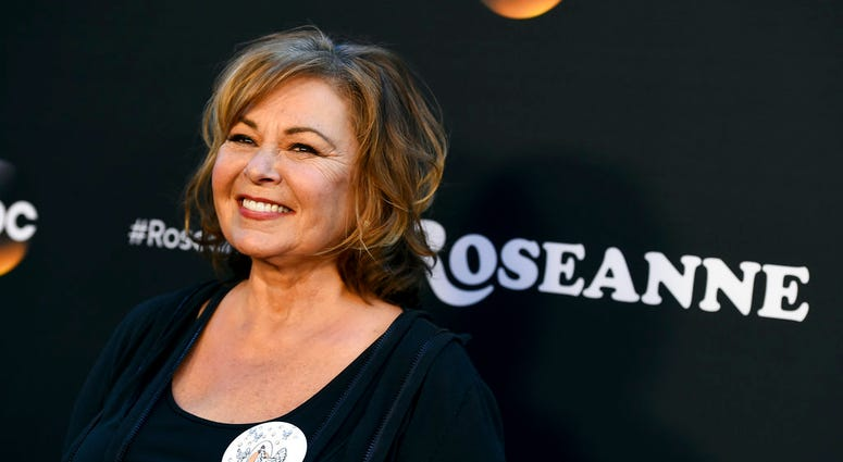 """FILE - In this March 23, 2018, file photo, Roseanne Barr arrives at the Los Angeles premiere of """"Roseanne"""" on Friday in Burbank, Calif."""