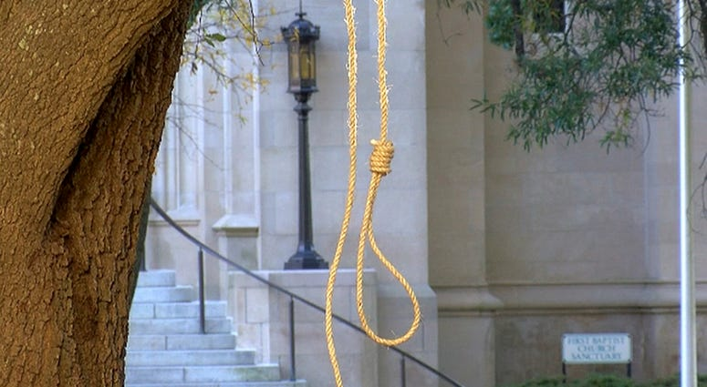 Noose hanging outside the Mississippi State capitol building, Monday.