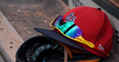 Cardinals Spring Training Hat Sunglasses © Jasen Vinlove-USA TODAY Sports.jpg