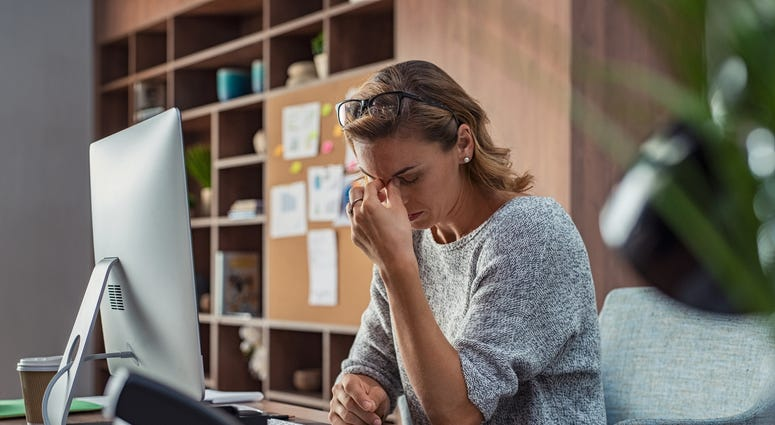 lady stressed working