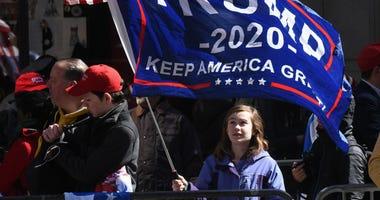 trump rally, kids, fan