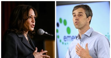 From right, Democrats Kamala Harris and Beto O'Rourke