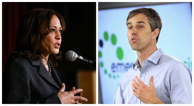 From right, Democrats Kamala Harris and Beto O'Rourke