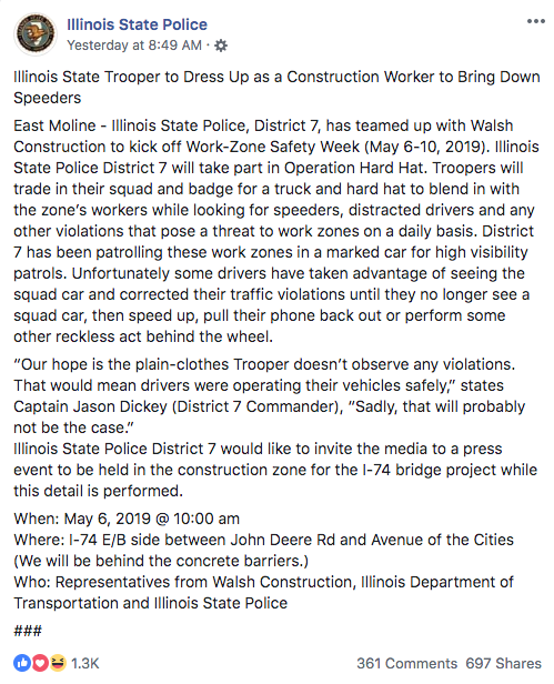 Illinois State Police statement about Work Zone Safety Week