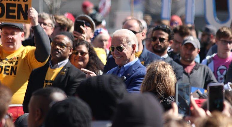 Joe Biden prepares to speak in St. Louis