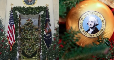 """First lady Melania Trump on Monday revealed the 2018 holiday décor, which featured a theme of """"American Treasures."""""""