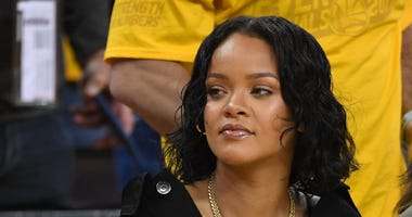 Recording artist Rihanna during the first quarter in game one of the 2017 NBA Finals