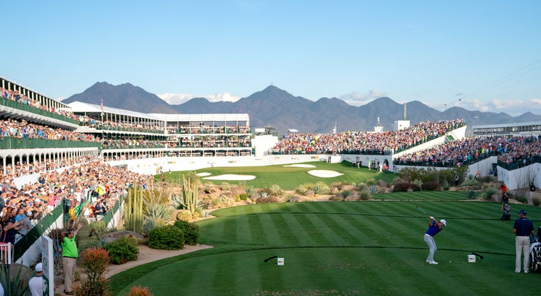 tee of the par 3 16th hole during the second round of the Waste Management Phoenix Open golf tournament at TPC Scottsdale
