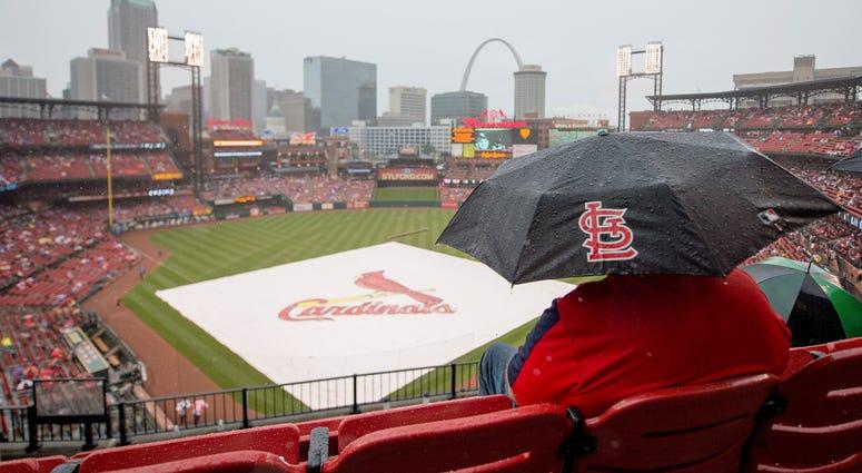 Cardinals Busch Stadium during a rain delay