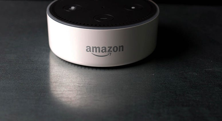 The Amazon Echo Dot at a product launch in London.