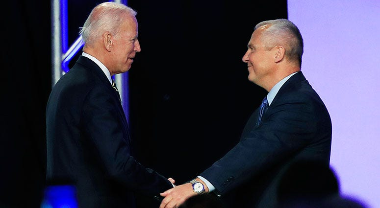 Joe Biden and International Brotherhood of Electrical Workers President Lonnie Stephenson