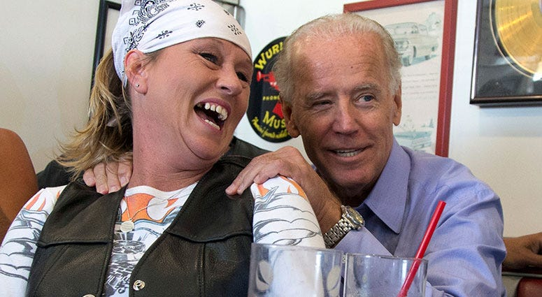 Joe Biden with biker lady at Cruisers Diner in Seaman, Ohio