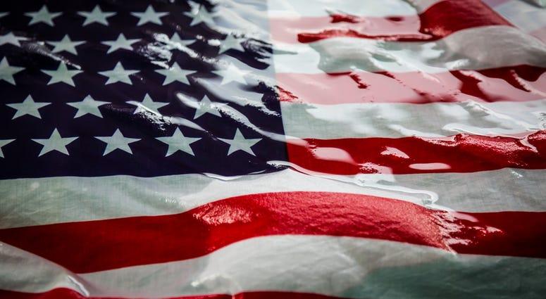 Water on U.S. Flag