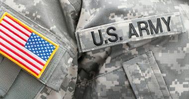 US flag and U. S. ARMY patch on military uniform - studio shot.
