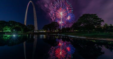 fireworks at Gateway Arch in St. Louis