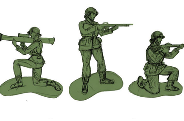 plastic green army women sketches