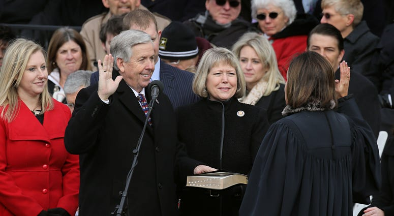 Mike Parson is sworn in as Missouri Lieutenant Governor during inauguration ceremonies in Jefferson City, Mo