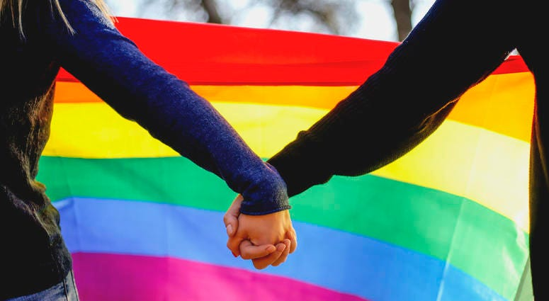 lgbtq couple holding hands in front of rainbow flag