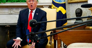 President Donald Trump speaks during a meeting with NATO Secretary General Jens Stoltenberg in the Oval Office of the White House, Thursday, May 17, 2018, in Washington.